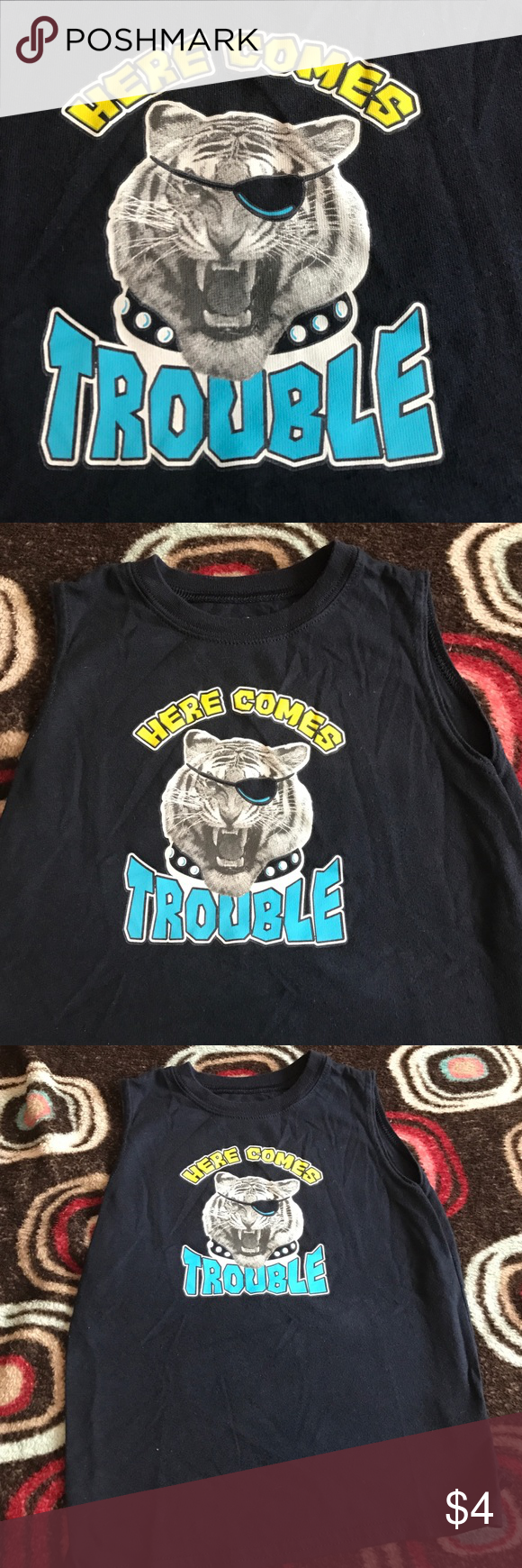 Tank Navy blue tank with tiger decal Shirts & Tops Tank Tops