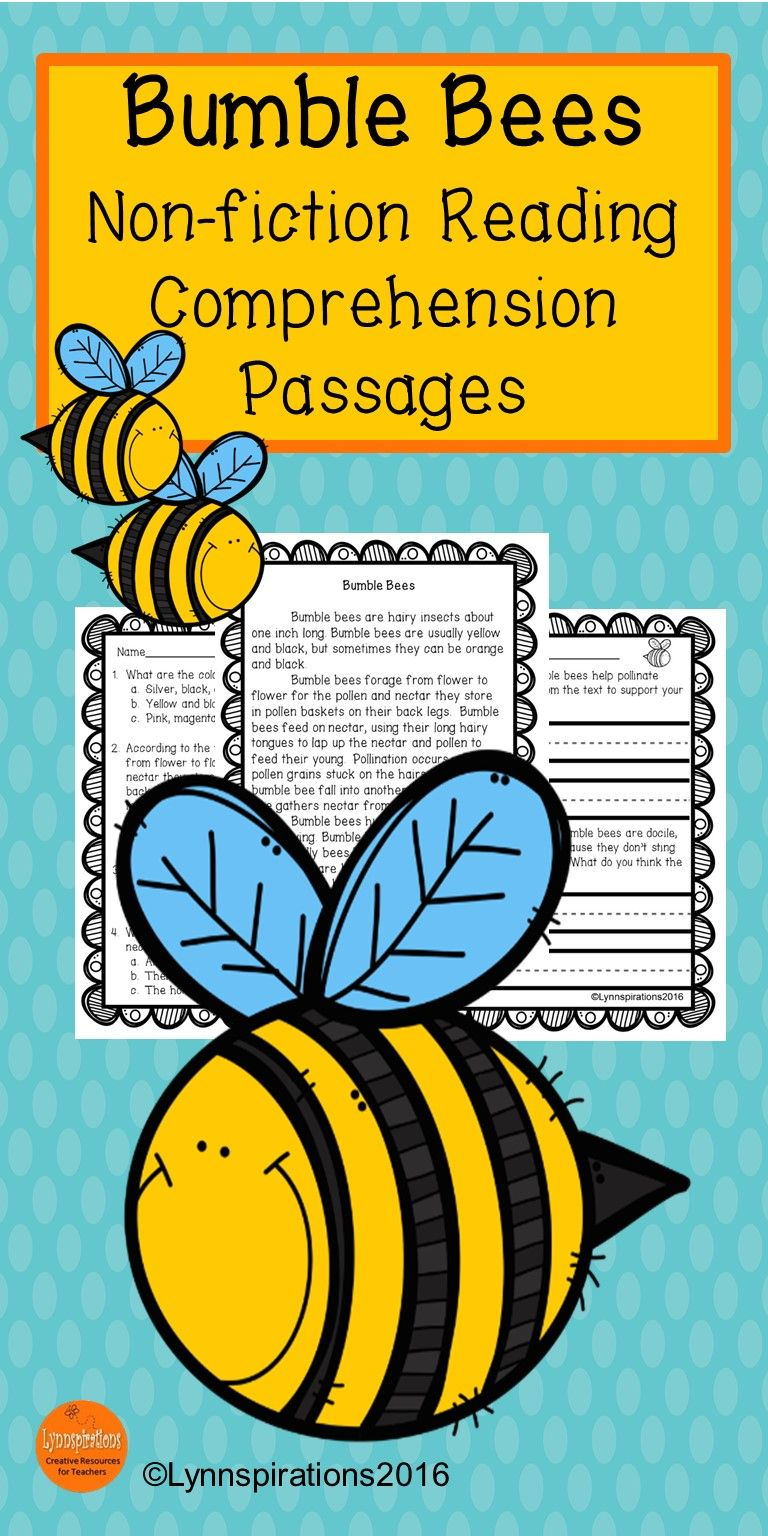 This Reading Comprehension Passage Is Great For Teaching The Science Of Bumble Bees Grades 1