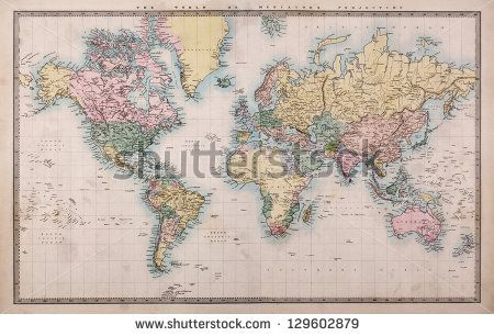 Original old hand coloured map of the World on Mercators projection circa 1860,the countries are ...