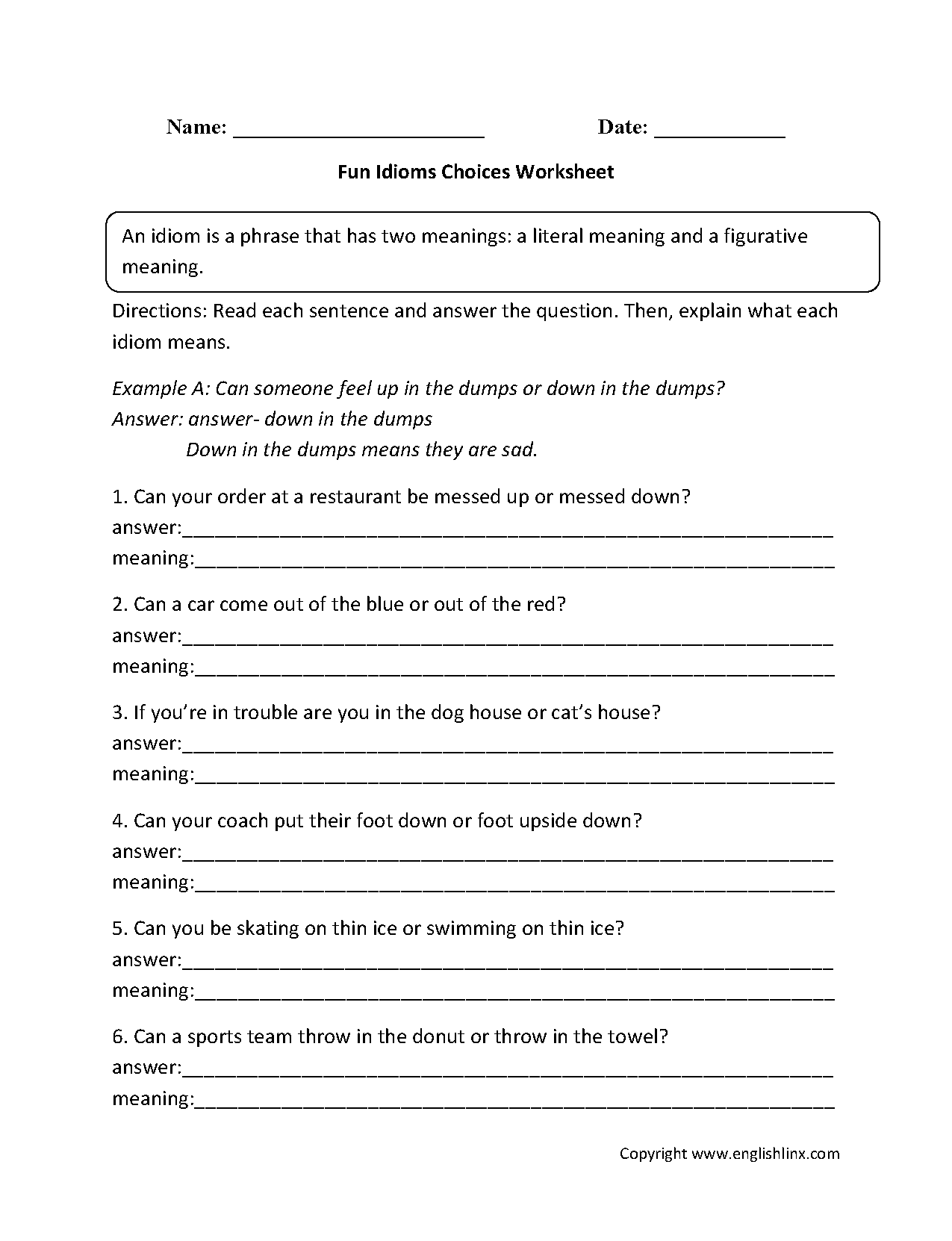 Fun Idioms Choices Worksheets