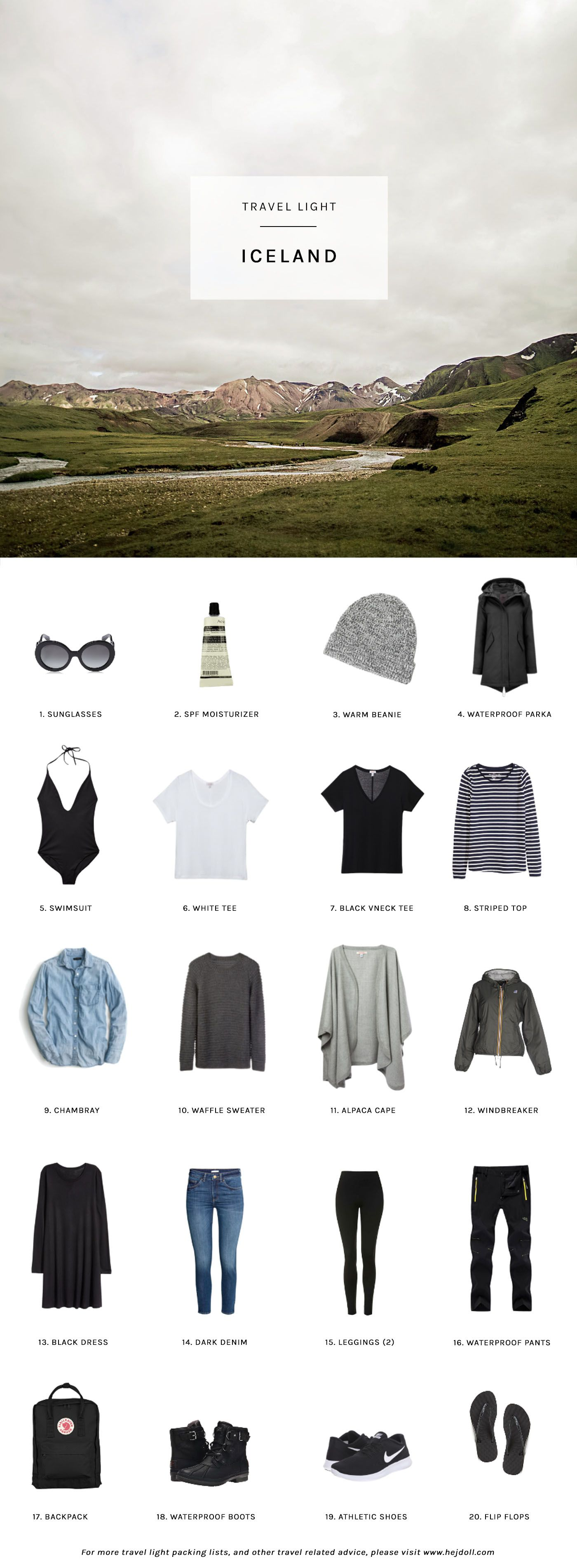 Travel Light - Pack for Iceland in the Summer. 20 items ...