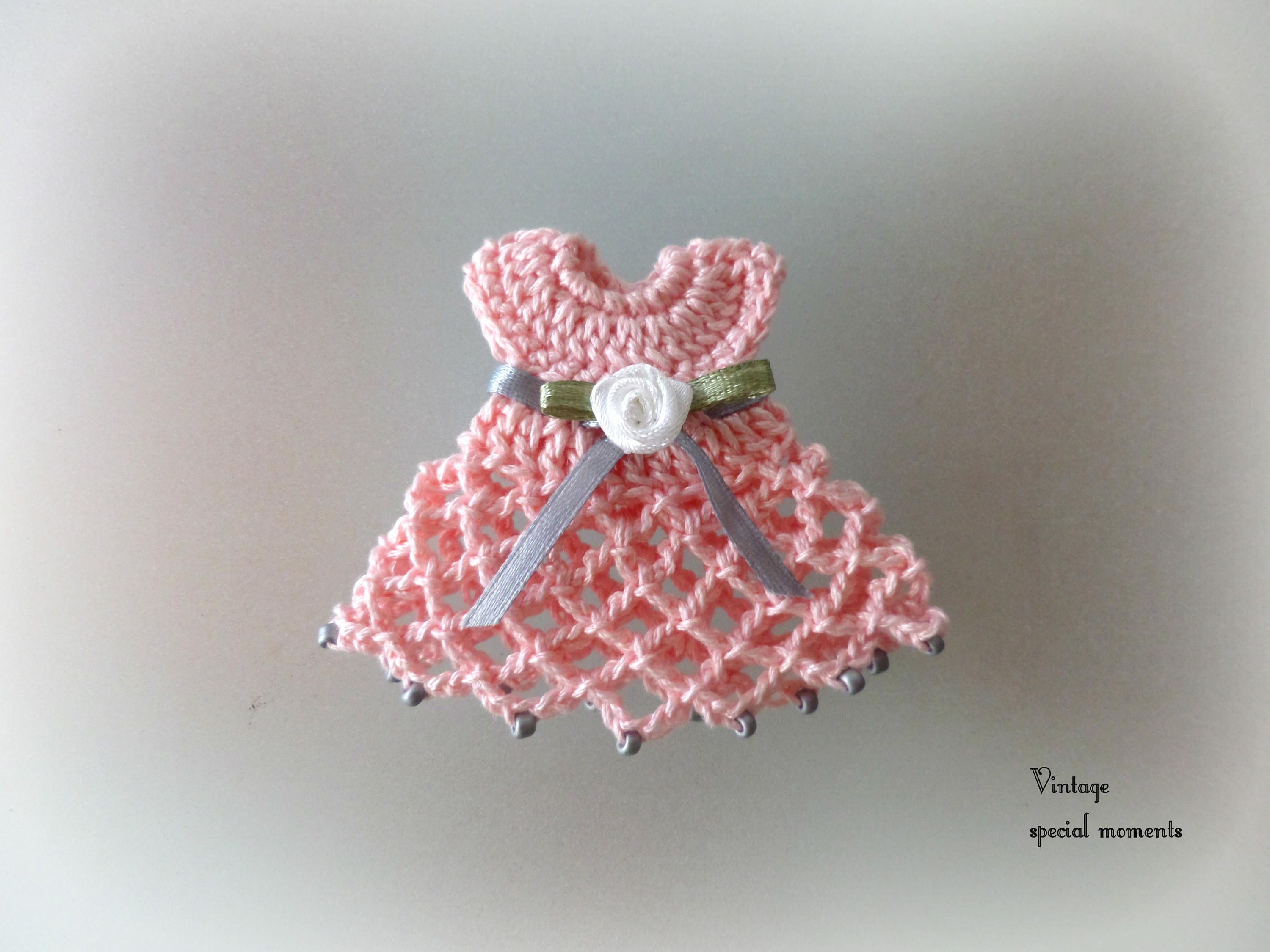 Lot Of 10 Crochet Miniature Dresses For Christening Baptism Favors