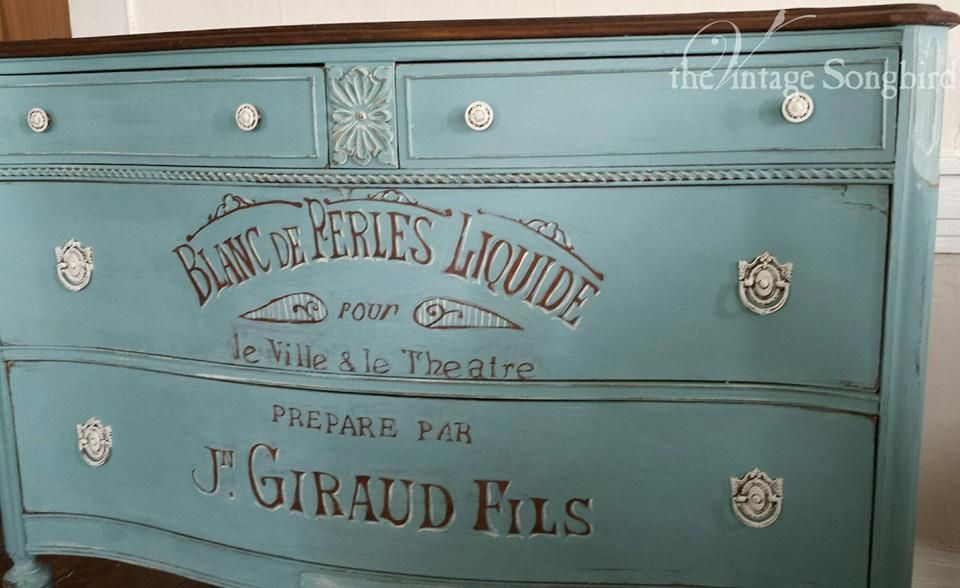 vintage graphic on painted chest ~ the vintage songbird