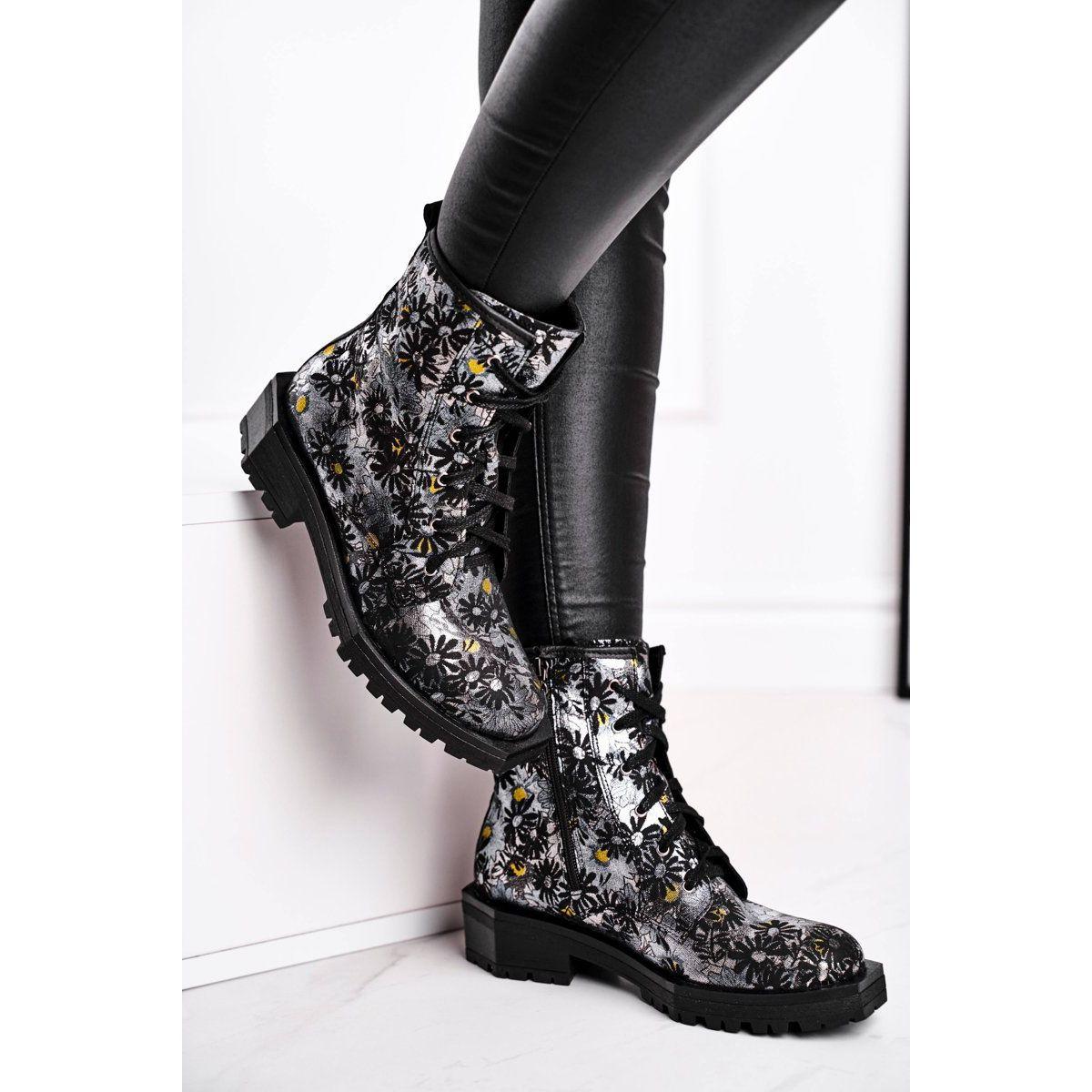 Botki Damskie Skorzane Trzewiki Maciejka Kwiaty 04869 38 Czarne Wielokolorowe Rain Boots Rubber Rain Boots Shoes