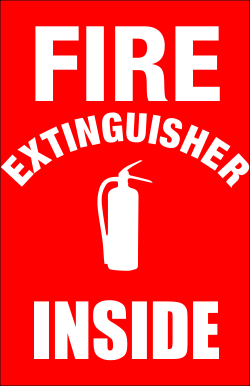 Fire Extinguisher Inside With Icon Sign Fire Extinguisher Fire Signs