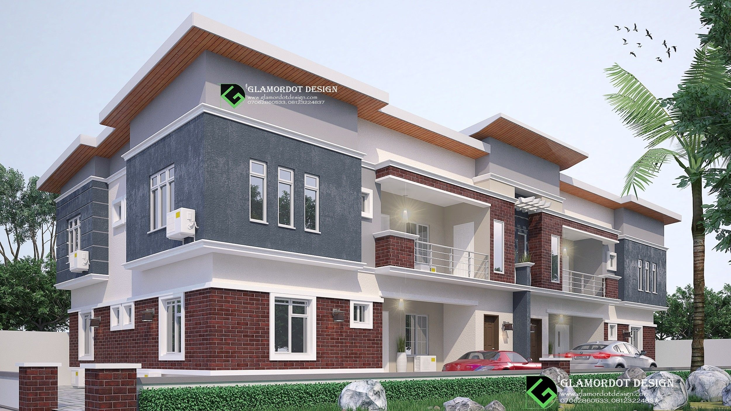 semi-detached house plan. 4 units 2 bedroom flat. all rooms