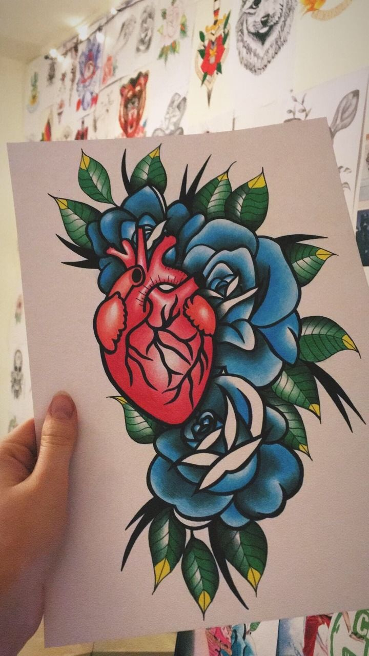 Anatomical heart and roses tattoo designdrawing by kxtt