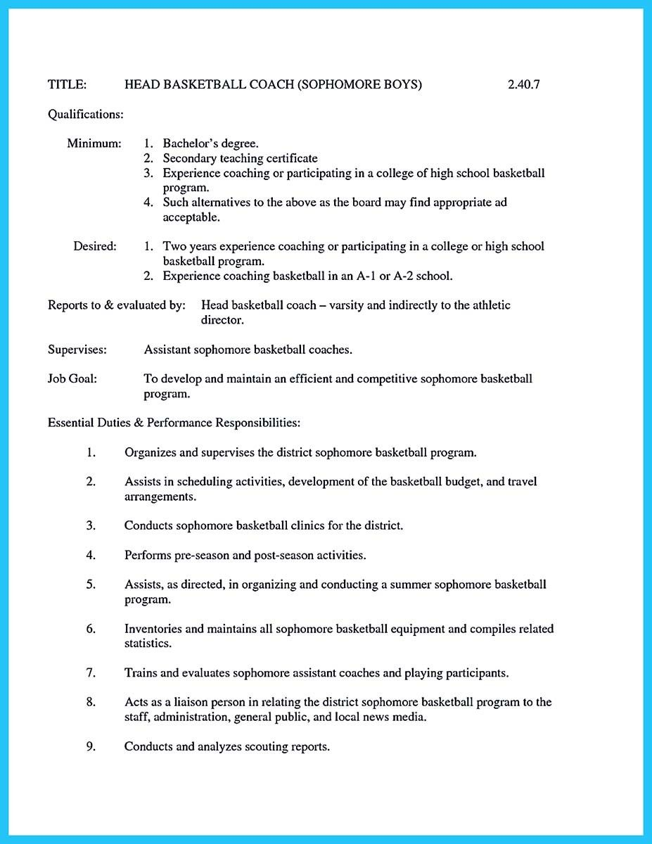 for perfect and acceptable basketball coach resume check more at httpsnefciorgcaptivating thing for perfect and acceptable basketball coach resume