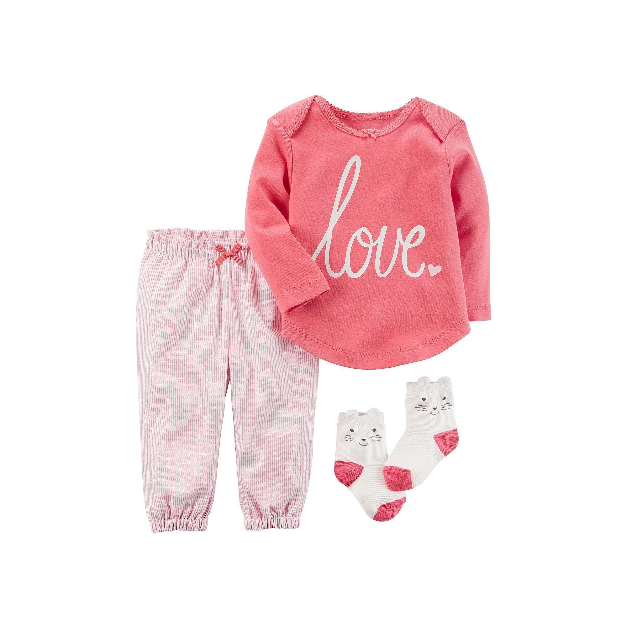 "Baby Girl Carter s ""Love"" Tee Striped Pants & Kitty Socks Set Size"