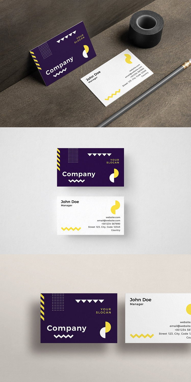Geometric Business Card Template Business Card Template Shaped Business Cards Card Template