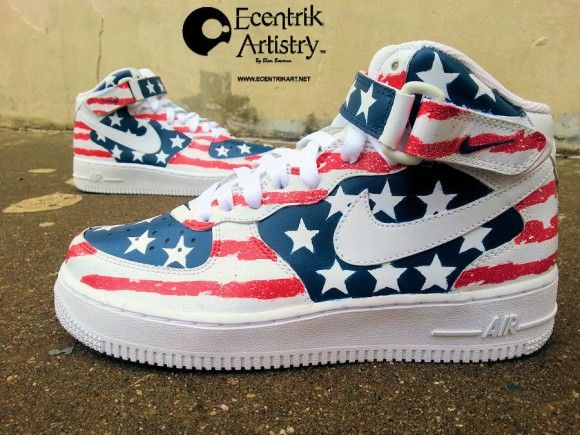 "pretty nice 7e51a b55a5 Nike Air Force 1 Mid ""American Flag"" Customs by Ecentrik Artistry. """