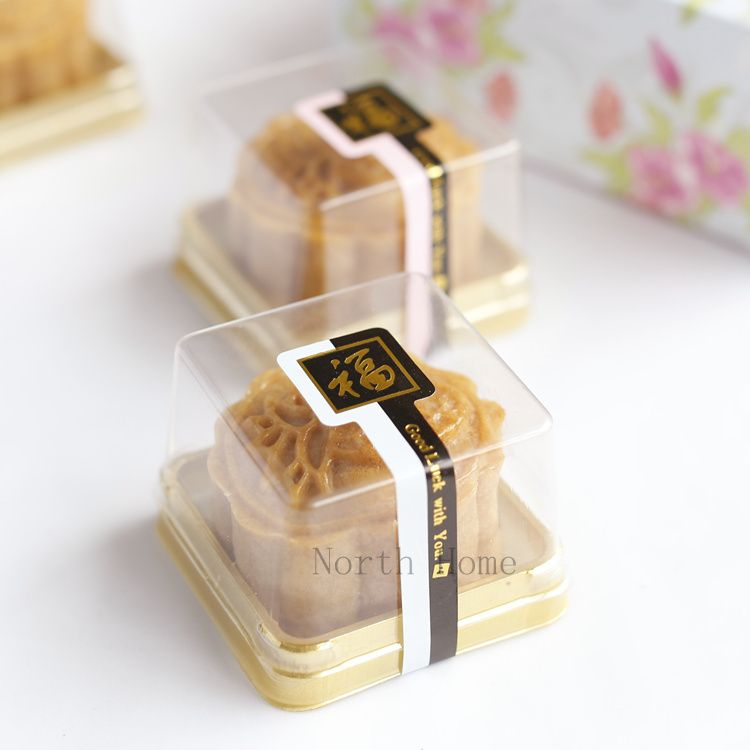 Plastic Box Single Individual Cake Boxes Golden Bottom Plastic ...