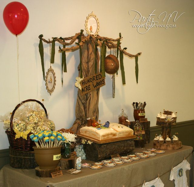 Classic Pooh Baby Shower Party Ideas Photo 21 Of 29 Baby Bear Baby Shower Baby Shower Baby Boy Shower