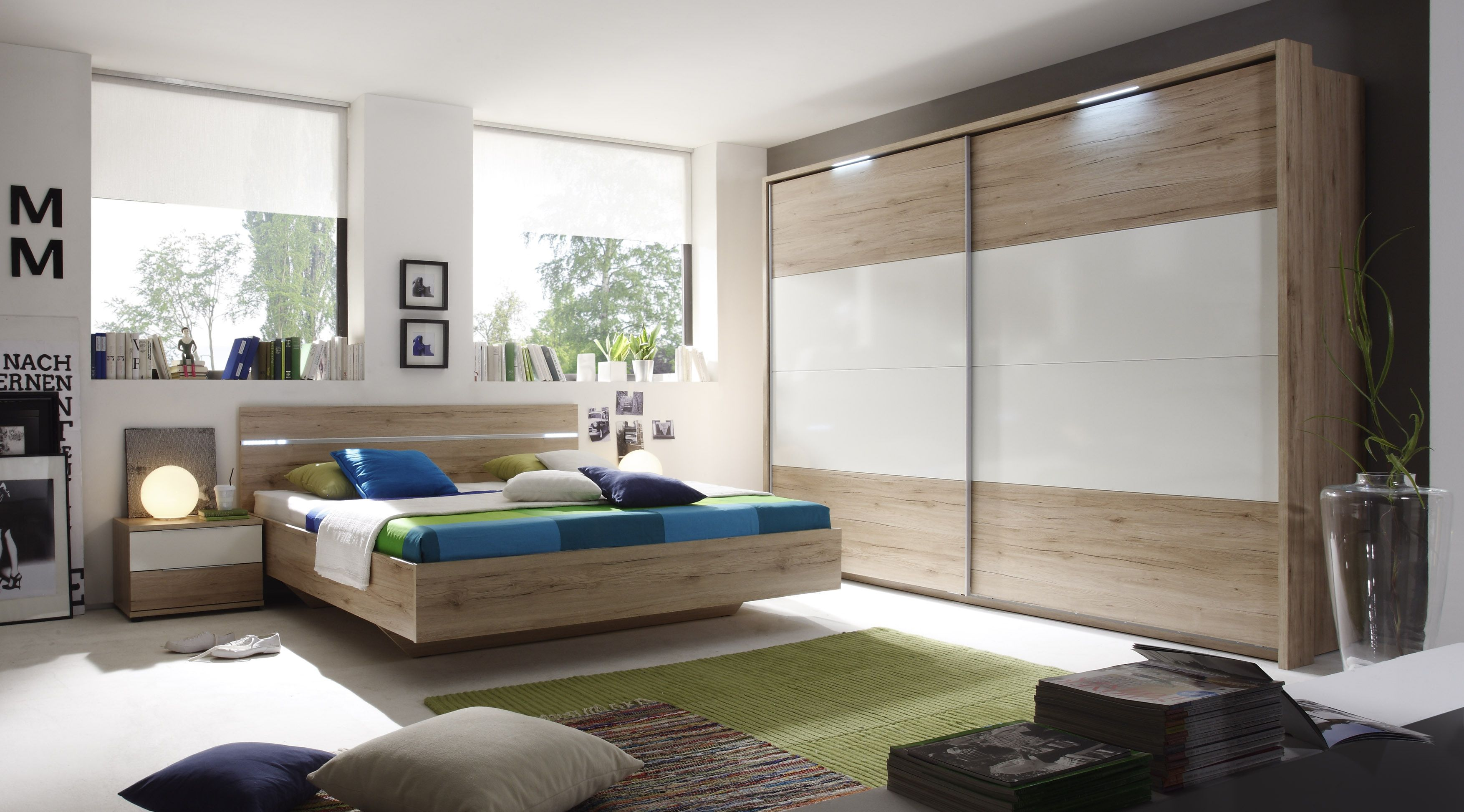 Schlafzimmer Mit Bett 180 X 200 Cm San Remo Hell/ Weiss Woody 62 00052  Eiche Holz Modern Jetzt Bestellen Unter: ...