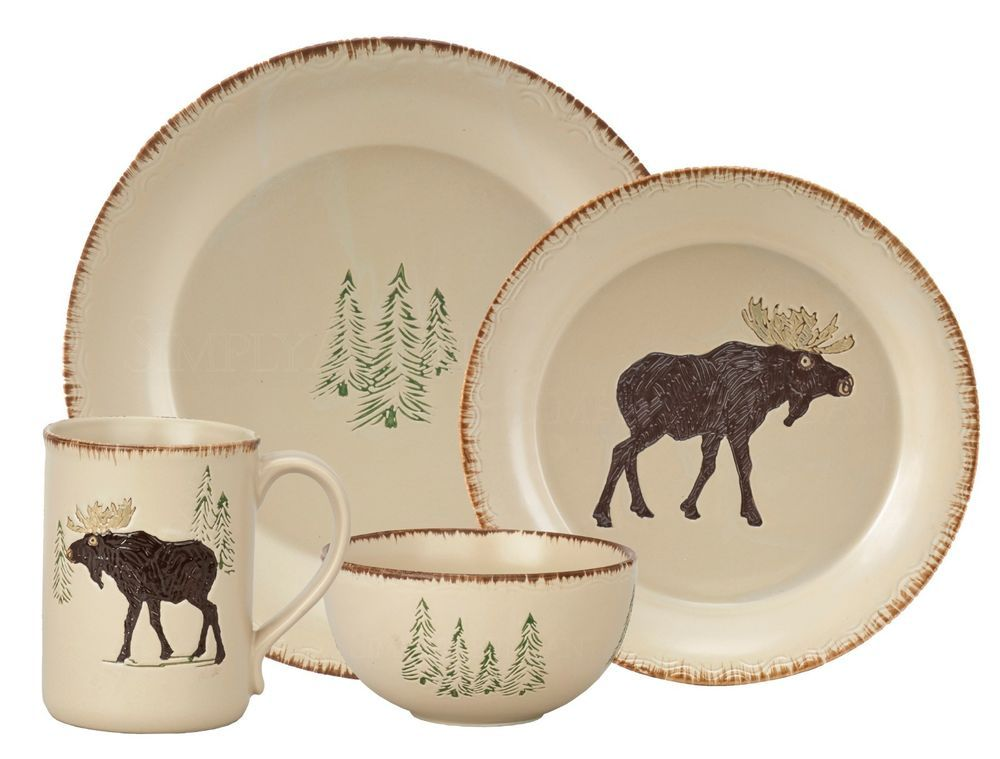 Rustic Retreat Dinnerware by Park Designs Stoneware Cabin Style Bear Motif  sc 1 st  Pinterest & Joking Hazard | Stoneware Dinnerware and Cabin
