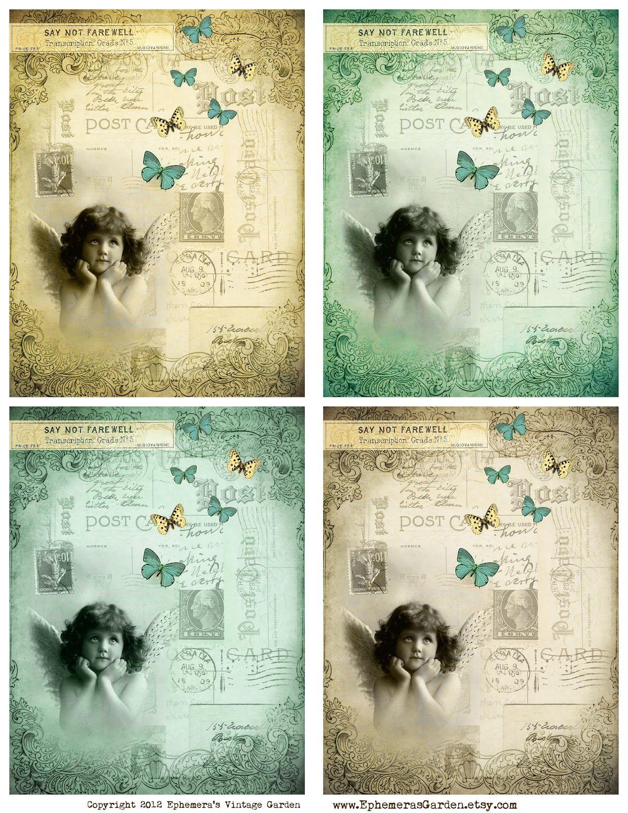 ephemera u0027s vintage garden free weekly printable butterfly angel