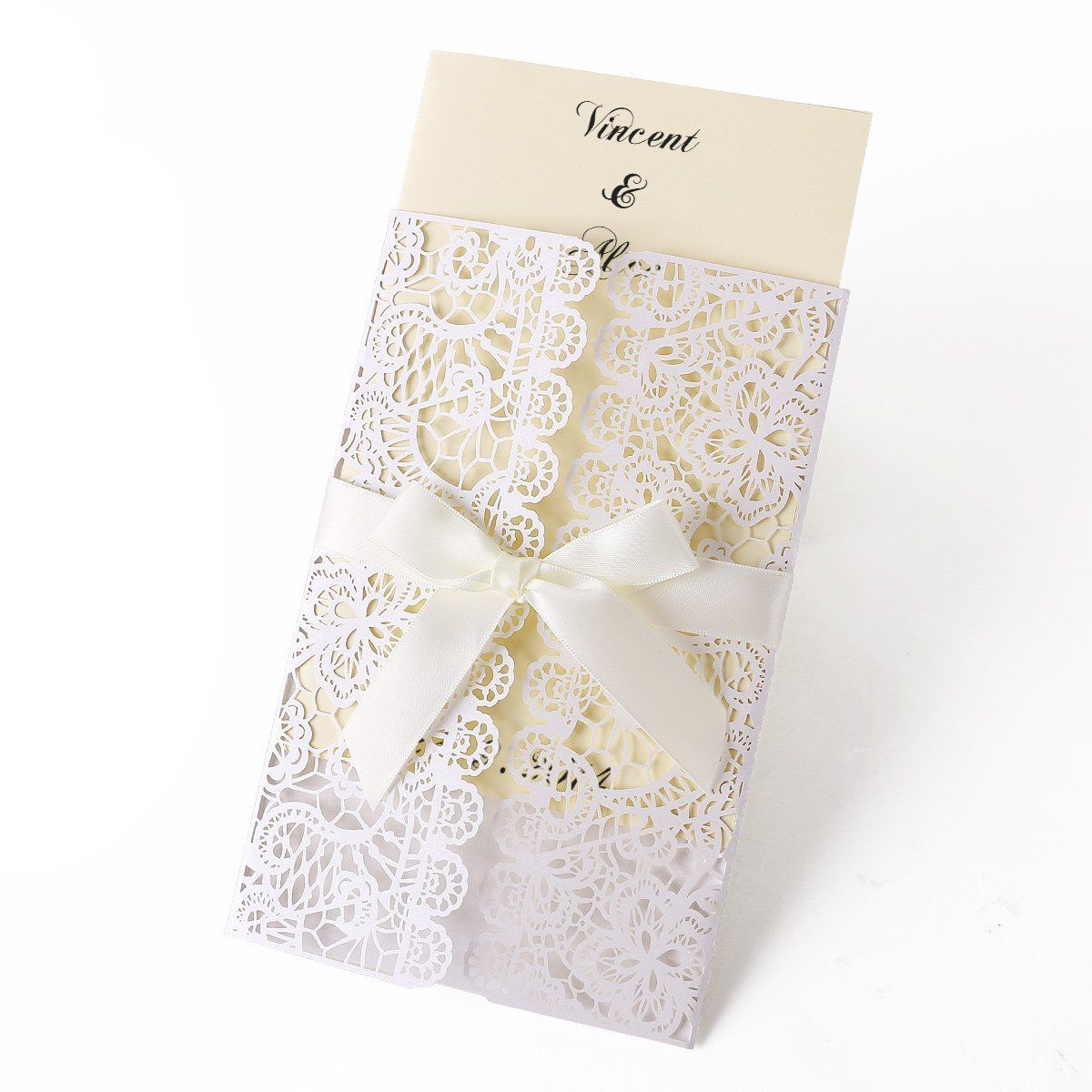 Lace Lacer Cut Out Hollow Wedding Invitations Ribbon Handmade ...