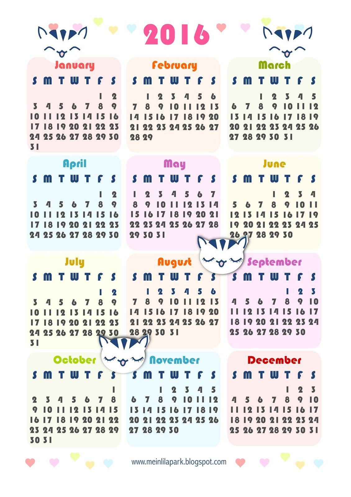 Free printable 2016 kawaii calendar - ausdruckbarer Kalender 2016 ...