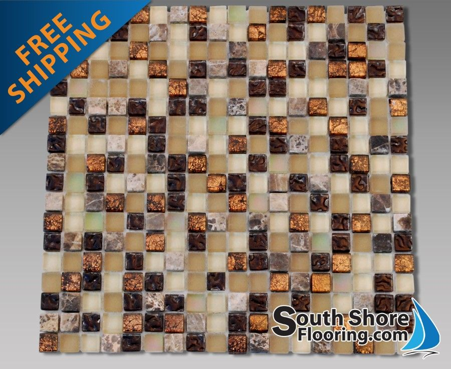 58x58 Glass Tile Stone Mix Copper Look Mosaic Tile