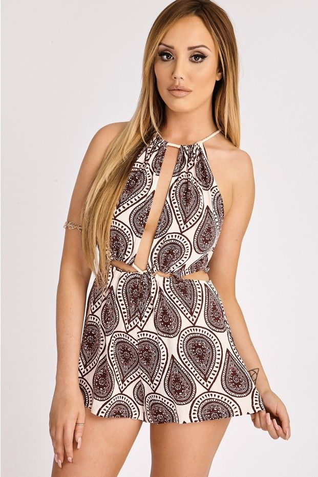 bde821980d CHARLOTTE CROSBY NUDE   WINE PAISLEY PRINT PLAYSUIT