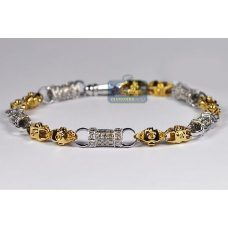 Mens Canary Diamond Bracelet 14K Two Tone Gold 4 46 ct 7 mm 9 inch