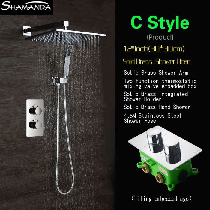 Buy Concealed Two Functions Embedded Box Thermostatic Mixer Valve ...