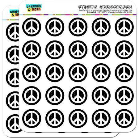 Artsy Peace Sign Symbol Black White 50 1 Inch Planner Calendar