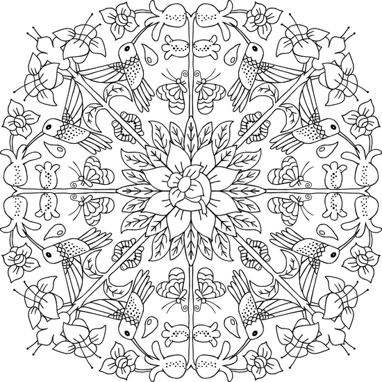 Hummingbird Wreath Coloring Page Mandala Coloring Pages Coloring Pages Mandala Coloring Books