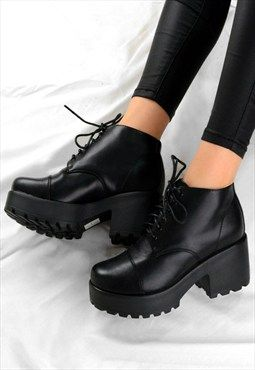a2cab549c0cc BELLA Retro Lace Up Chunky Grip Heel Ankle Boots Shoes