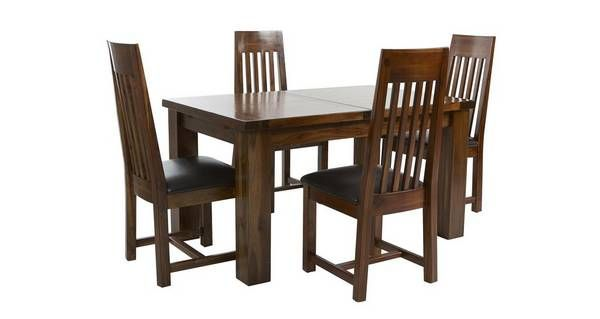 Shiraz Small Extending Dining Table & Set Of 4 Slat Back Chairs Fair Dfs Dining Room Furniture Review