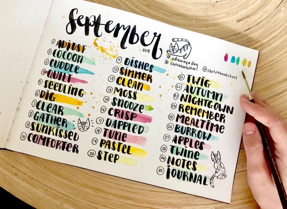 A Drawing A Day September 2018 Drawing Word Prompt List