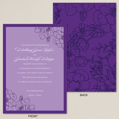 Exclusively Weddings Floral Beauty Wedding Invitation Feature A Beautiful Pattern In Hues Of Purple