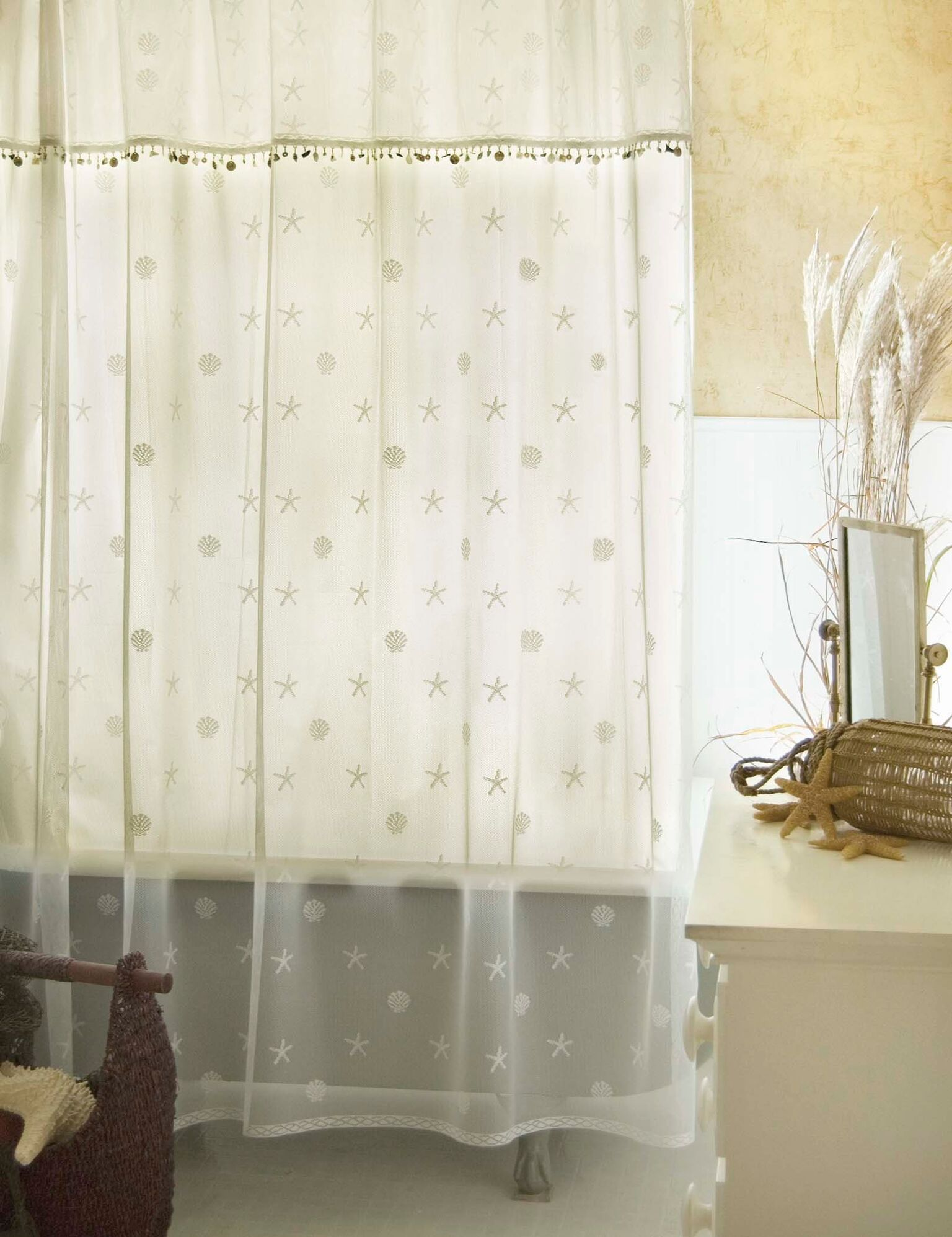 Sand Shell Curtain Collection White For The Home Lace Shower