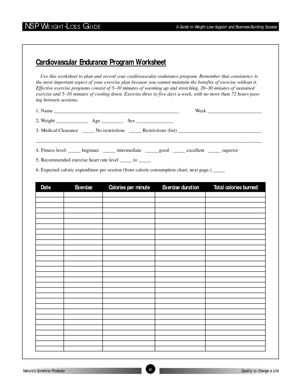 Nsp WeightLoss Guide Cardiovascular Endurance Program Worksheet