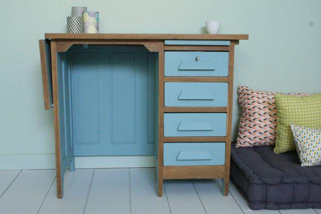 Bureau vintage rénové et relooké par les jolis meubles bureaux