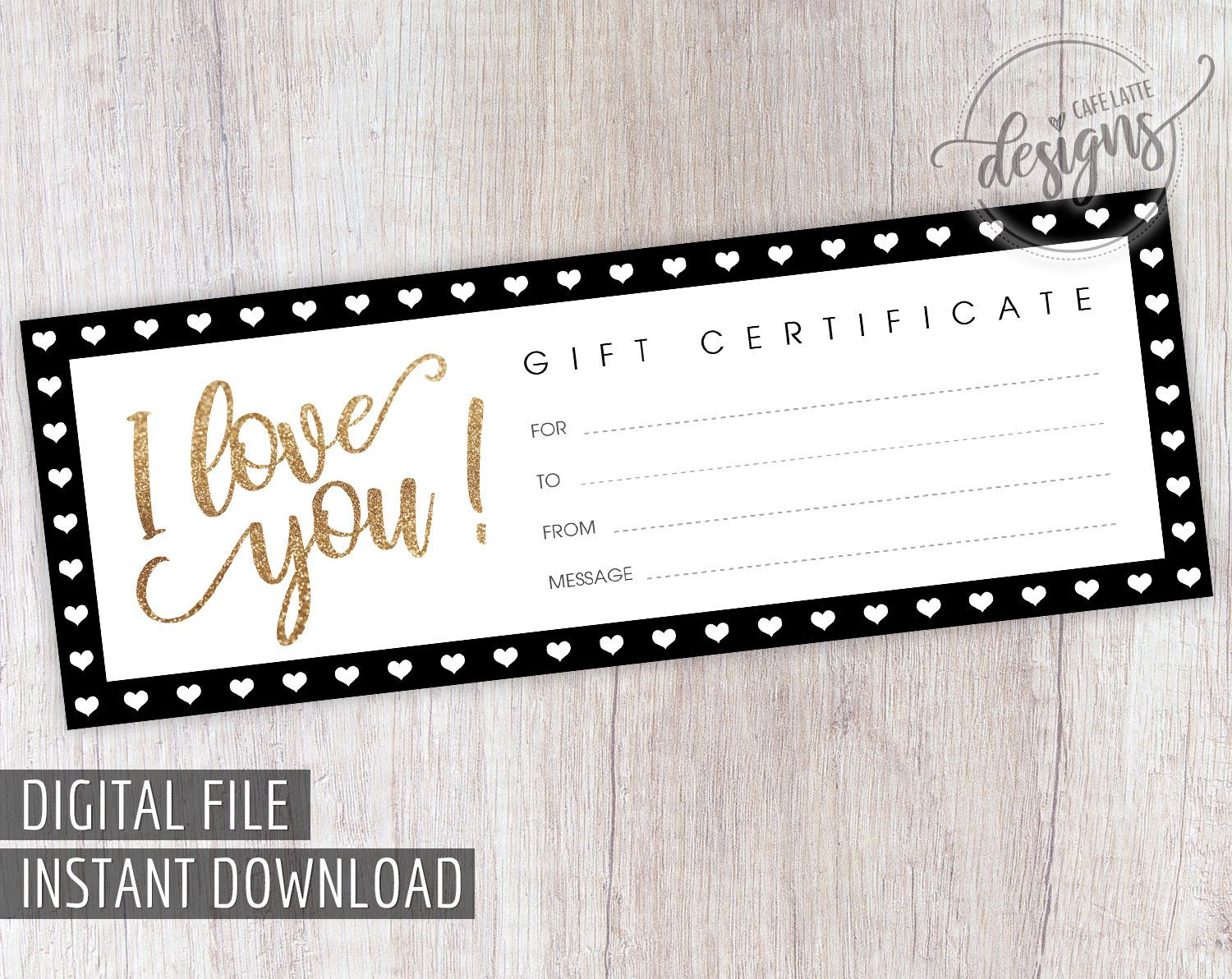 Gift Certificate Printable Valentines Gift Coupon Birthday Wedding Anniversary Gift Idea Instant Download Printable Last Minute Gift Diy Printable Gift Certificate Gift Coupons Naughty Coupon Book