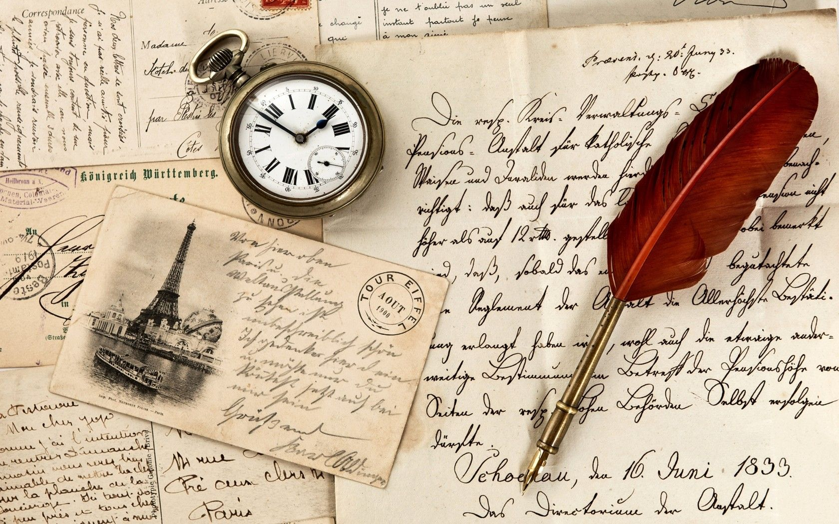 1680x1050 wallpaper vintage old paper pen watch