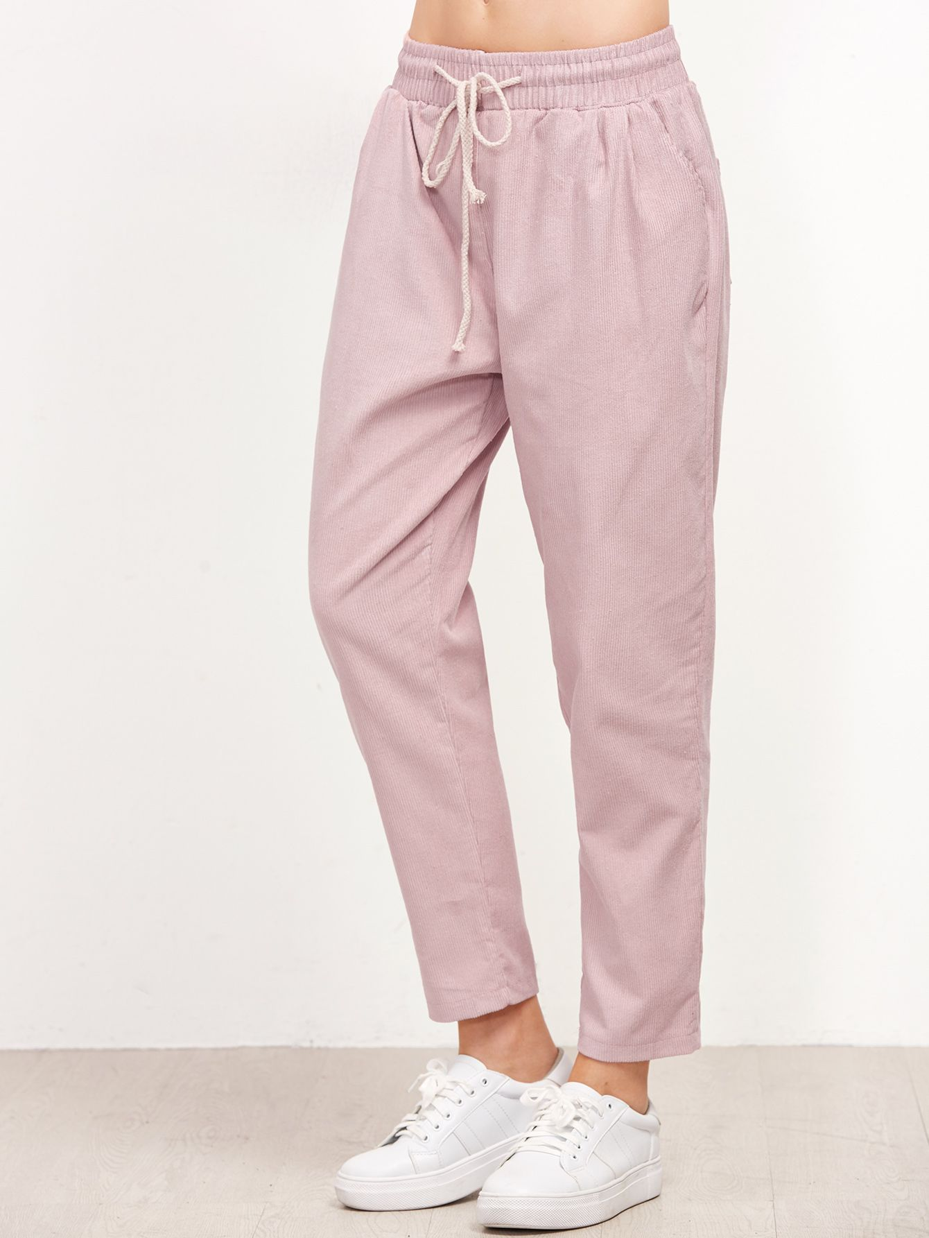 790db82ebb Shop Pink Drawstring Waist Tapered Pants online. SheIn offers Pink  Drawstring Waist Tapered Pants & more to fit your fashionable needs.