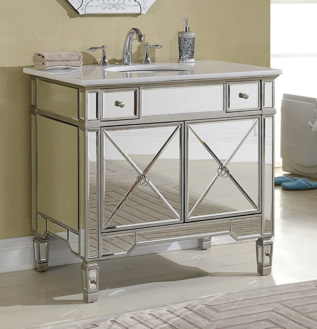 Make Photo Gallery This Adelina inch Mirrored Silver Bathroom Vanity will add elegance and function to your bath