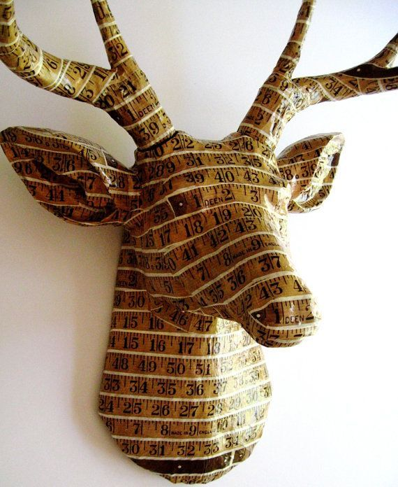 Measuring Tape Deer |  Stag Head Paper Wallpaper Art Sculpture#art #deer #measuring #paper #sculpture #stag #tape #wallpaper
