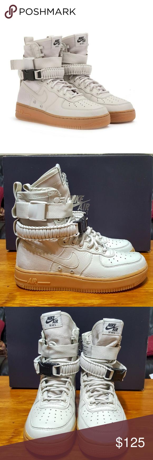 7.5 857872-004 Nike Women SF Air Force 1 Grey Light Bne Gum s
