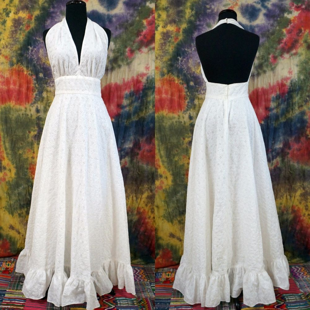 Vtg s boho halter white eyelet summer festival beach wedding maxi