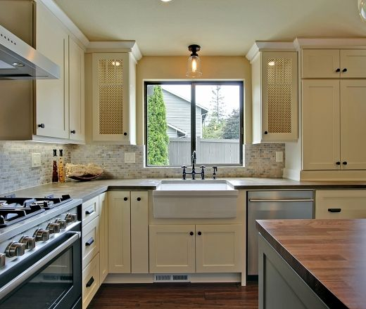 kitchen ideas backsplash pictures transitional u shaped taupe kitchen white cabinets 4943