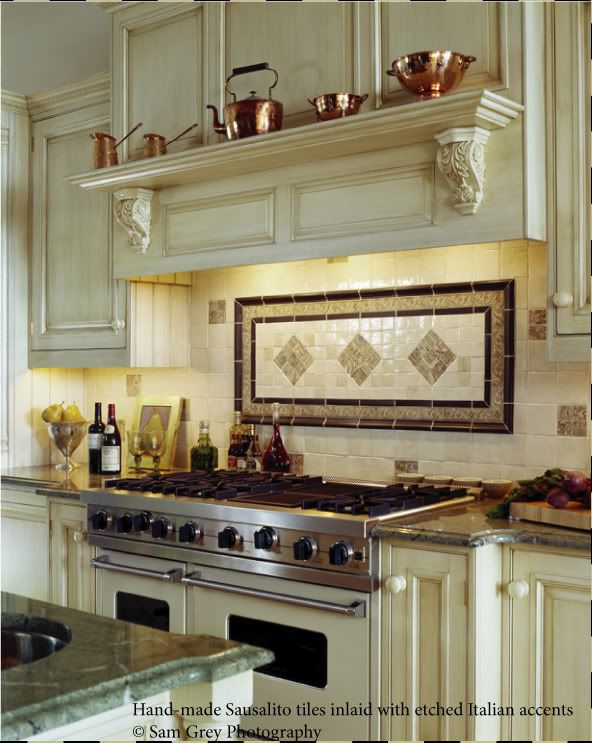 Backsplash ideas for behind the range bronze tile backsplash over stove traditional Kitchen design center stove