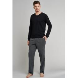Photo of Lounge pants long woven fabric black and white striped – Mix & Relax 58Schiesser.com
