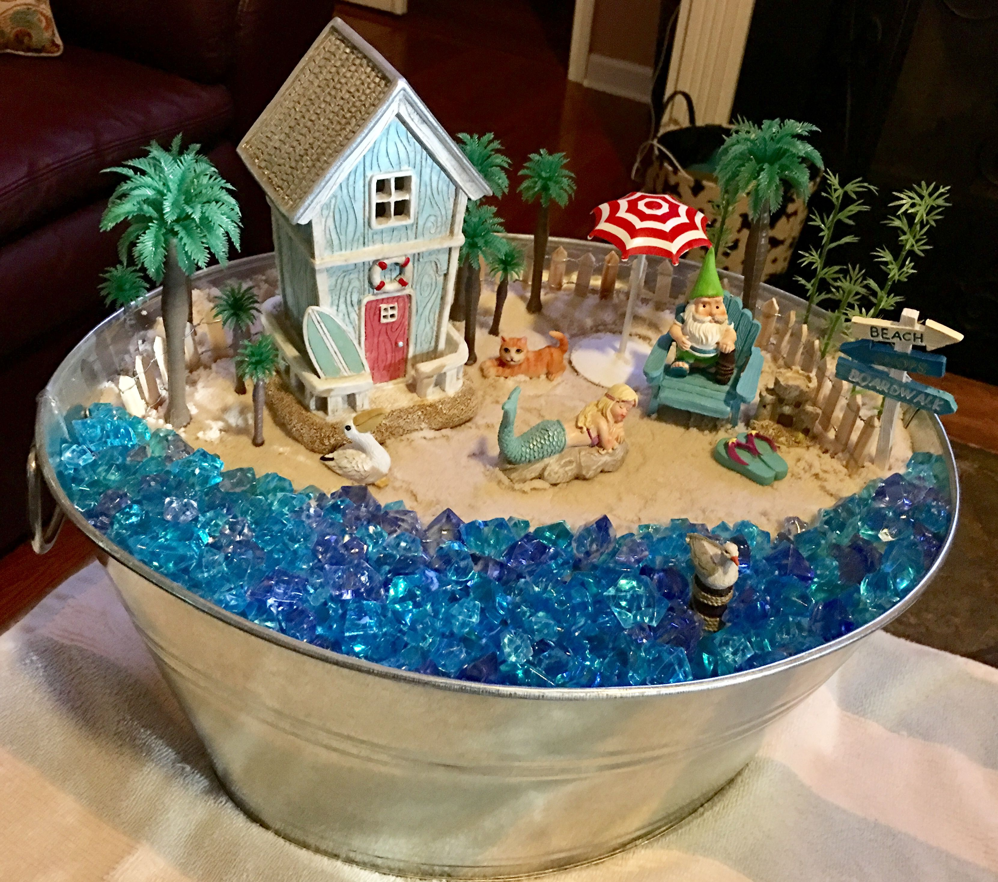Mini Blue Nautical Lake House w Opening Doors ~ Beach Fairy Garden or Terrarium Supply ~ Coastal Home /& Wedding Accents Garden