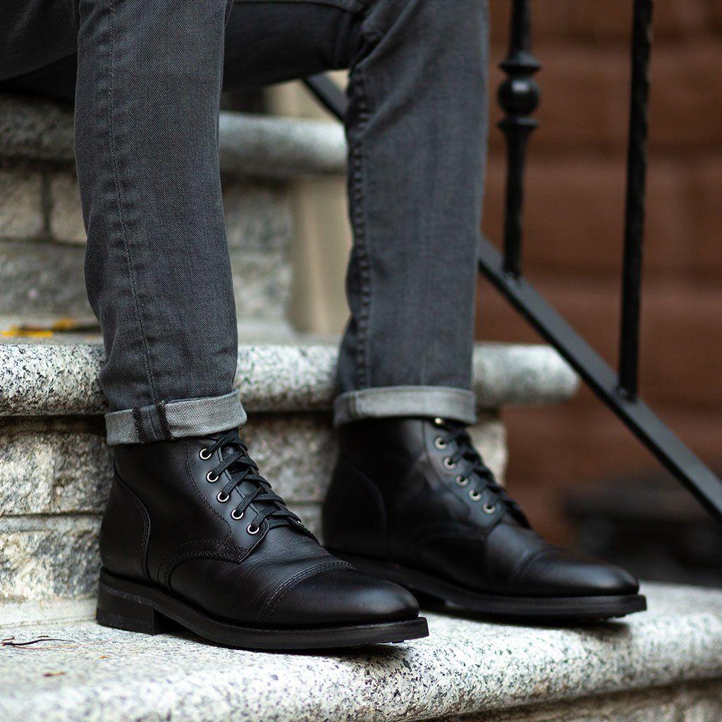 Captain Black Dress Shoes Men Boots Outfit Men Black Boots Men