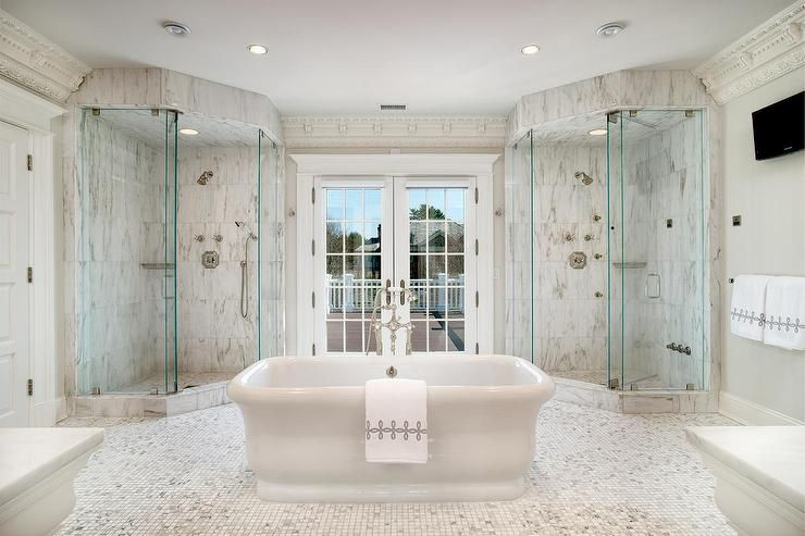 Corner His And Her Showers Transitional Bathroom Bathroom Interior Bathroom Interior Design Shabby Chic Bathroom