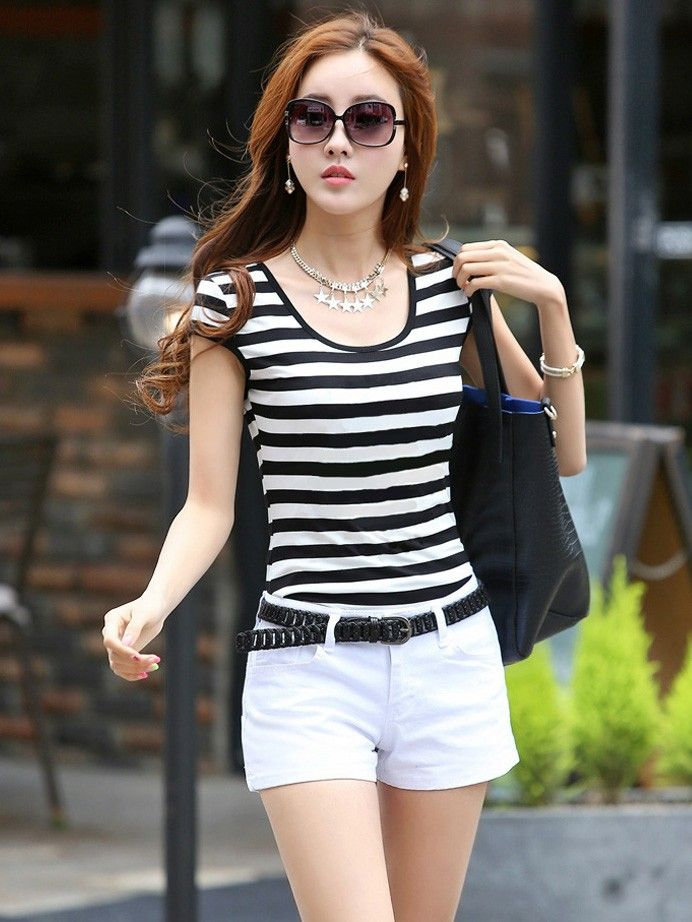black and white striped short-sleeved t-shirt plus size - wsdear