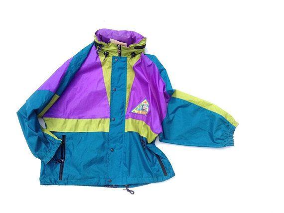 fcf2cb3de 90s rain coat with hood , estimated size M / L. Vintage colour block  raincoat, windbreaker, festival wear, purple green lightweight jacket